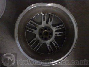 001. Mini Cooper Bent & Buckled Alloy. Before Alloy Wheel Straightening