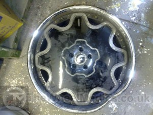 Forgiato Chrome Bent and Buckled Alloy. Before Alloy Wheel Straightening