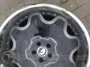 Forgiato Chrome Bent and Buckled Alloy. After Alloy Straightening Repair. The Wheel Medics London