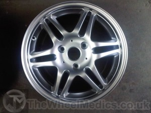 Brabus Alloy Wheel Fully Refurbished and Repaired. Powder Coated into Hyper Silver